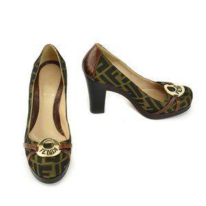 "FENDI: Brown, ""FF"" Logo & Leather Heels/Pumps"